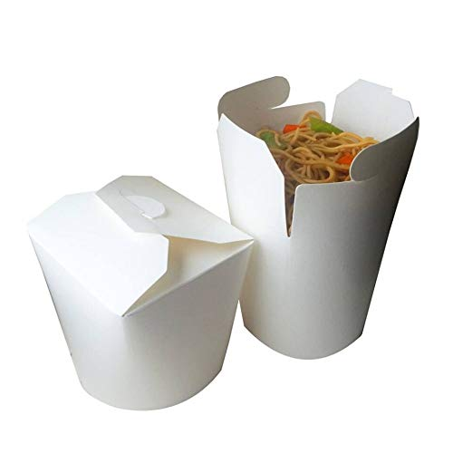ENVIRONMENTAL-FRIENDLY and Recyclable - Round Chinese Take Out Disposable Containers 16oz, 50 Pack Biodegradable Compostable Eco-Friendly Paper 16oz, 50 Pack White Noodle Boxes