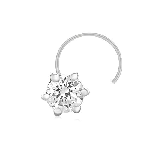 Carats For You 0.13ct Brilliant Round Shape Genuine Real Natural Diamond 925 Sterling Silver Solitaire Nose Ring Stud Pin for - Adorned Round Gold 14k Diamond