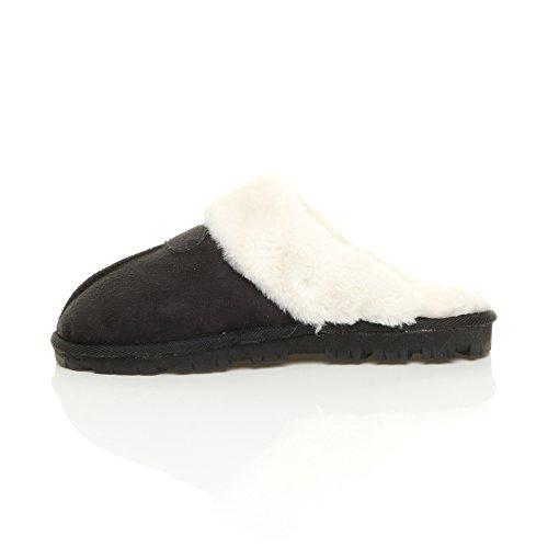 plat doublée Fourrure de Femmes chaude hiver Ajvani pantoufles fourrure pointure luxe avec Noir confortable Blanc chaussons Tw8g6qE