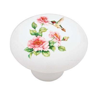 - Hummingbird Roses Ceramic Drawer Knob