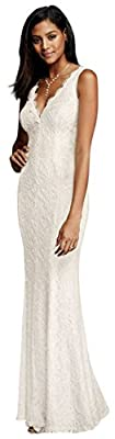 Allover Lace V-Neck Sheath Wedding Dress Style 183626DB