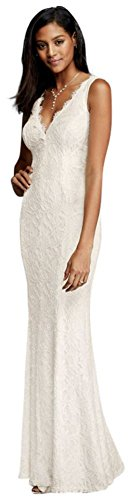 Allover Lace V-Neck Sheath Wedding Dress Style 183626DB, Ivory, 4