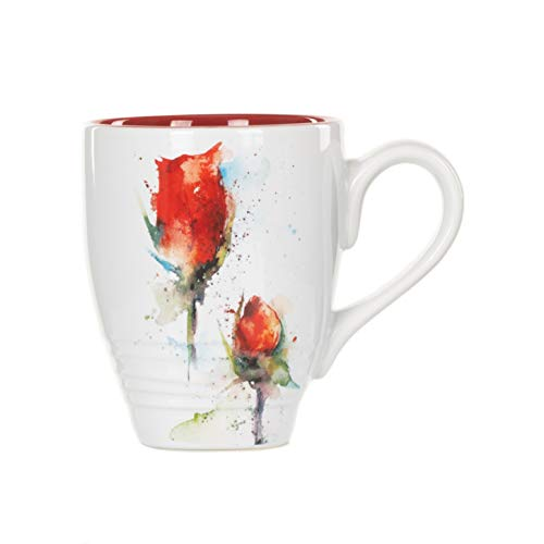 DEMDACO Dean Crouser Rose Flower Watercolor Red 12 Ounce Glossy Stoneware Mug With Handle