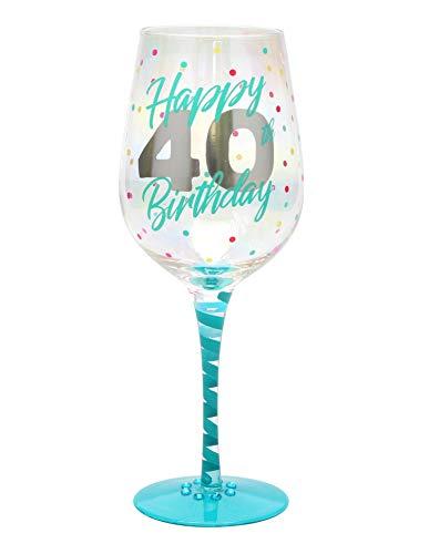 Top Shelf Decorative 40th Birthday Wine Glass, For Red or White Wine, Unique Gift Idea Around The Clock Bridal Shower