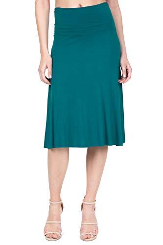 iliad USA 8005 Women's Lightweight Elastic Waist Flowy Loose Flared Midi Skirt DARKTEAL XS