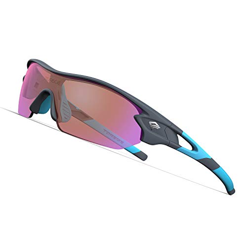 332ff459e653 TOREGE Polarized Sports Sunglasses with 3 Interchangeable Lenes for Men  Women Cycling Running Driving Fishing Golf Baseball Glasses TR02 (Matte ...