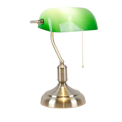 Nostalgic American Antique Vintage Pawn Bank Lamp, Study Lamp Republic of China Old-Fashioned Green Cover Old Shanghai Lamps (dimming Switch)