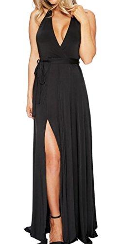 Domple Beach V Neck Sexy Dress Slit Halter Backless Belt Womens Deep Maxi Black with rrqX8g