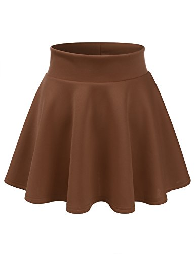 - CLOVERY Women's Skater Skirt, A Line Flared Skirt reg & Plus Size Skater Skirts Chocolate S
