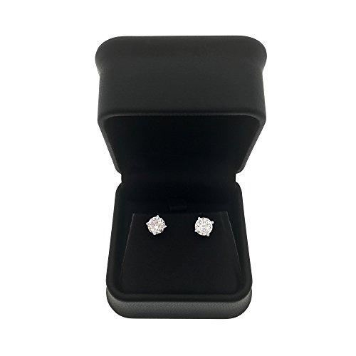 DTLA 14k White Gold Solid Cubic Zirconia Stud Earrings (2 carats) by DTLA Fine Jewelry (Image #4)