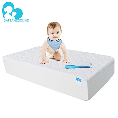 Crib Mattress Protector Organic Bamboo, Waterproof Quilted Fitted Sheet with 28