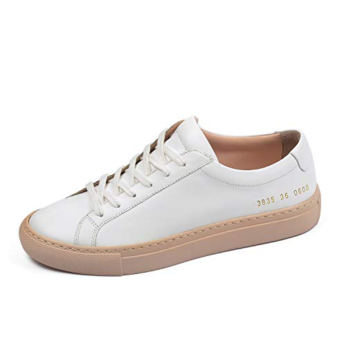 Donna-in Fashion Sneakers Women Genuine Leather Flat Low Heel Ladies Lace Up Breathable Shoes Women White (6.5, Apricot)