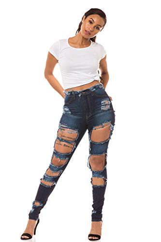 Aphrodite High Waisted Jeans for Women - High Rise Skinny Womens Heavy Hand Sanding Distressed Ripped Cut Out Jeans 4309 Dark Blue 9