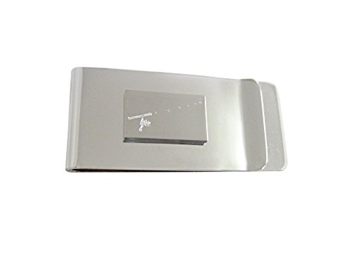 - Silver Toned Etched Fishing Rod Money Clip