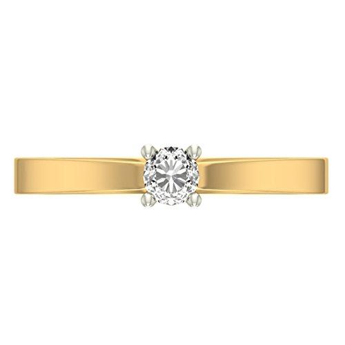 14K jaune Or 0,19CT TW Round-cut-diamond (IJ | SI) en diamant