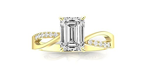 0.51 Ct Emerald Cut Diamond (14K Yellow Gold 0.59 CTW Elegant Twisting Split Shank Diamond Engagement Ring w/ 0.51 Ct GIA Certified Emerald Cut F Color VVS2 Clarity Center)