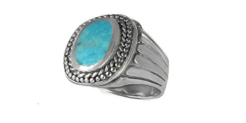 Sterling Silver Genuine Oval 8x9mm Turquoise Men's Ring (11) (Turquoise Silver Gallery Ring)