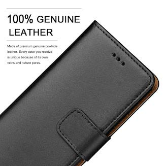 Ameego Premium Genuine Real Leather Flip Wallet Magnetic Kickstand Slim Book Case Cover for Samsung Galaxy S6 Leather Wallet Book Flip Case Cover Black