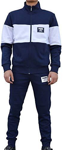 - PUMA Mens Jog Suit Fleece Tracksuit Rebel Block Sweat Suit Navy/White New 851563 06 (X-Large)