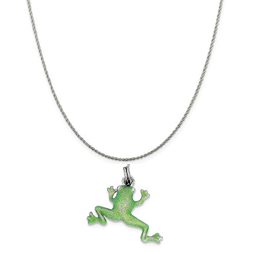 Sterling Silver Green Enamel Frog Charm on a Sterling Silver Rope Chain Necklace, 20