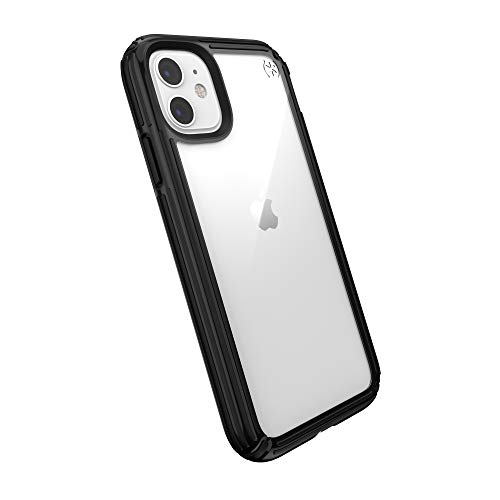 Speck Products Compatible Phone Case for Apple iPhone 11, Presidio V-Grip Case, Clear/Black