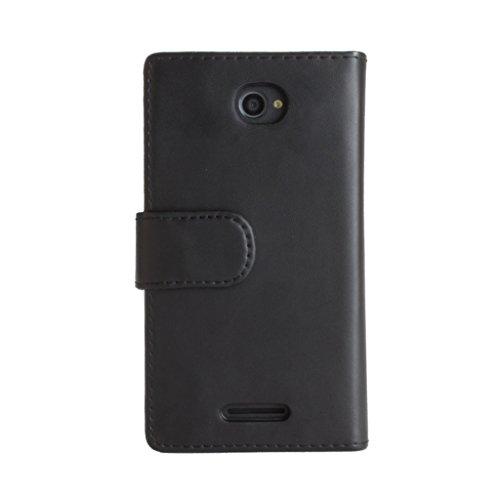 Snakehive® Sony Xperia E4 Funda de cuero laminado de tipo cartera, hecha con dos ranuras para tarjetas de crédito por Sony Xperia E4 (Color Negro) Color Negro
