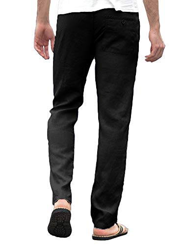 8dbe6edaba Enjoybuy Mens Summer Linen Long Pants Loose Fit Drawstring Elastic Waist  Lightweight Breathable Beach Pants Black