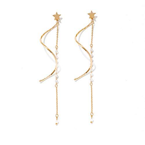wintefei Reizendes Mdchen-tgliche Verfassungs-Art- und Weisedamen-Stern-Nachgemachte Perlen-Spirale baumeln lange Quasten-lineare Bolzen-Ohrringe Golden
