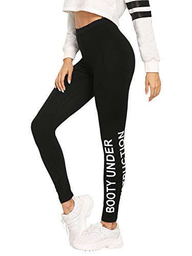 - SOLY HUX Women's Letter Print Super Soft Yoga Pants Full-Length Leggings Black L