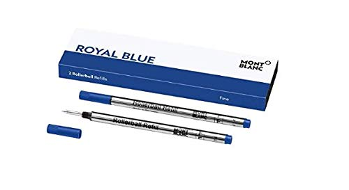 Montblanc Rollerball Refills (F) Royal Blue 124501 - Quick-Drying Pen Refills for Montblanc Rollerball and Fineliner Pens - 2 x Dark Blue Pen Cartridges