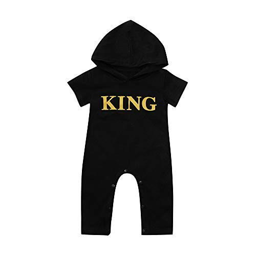 Hot Sale!! 0-24 Months Newborn Infant Baby Boy Casual Hooded Letter King Romper Jumpsuit Bodysuit Playsuit Outfits (Black a, 0-6 Months) -