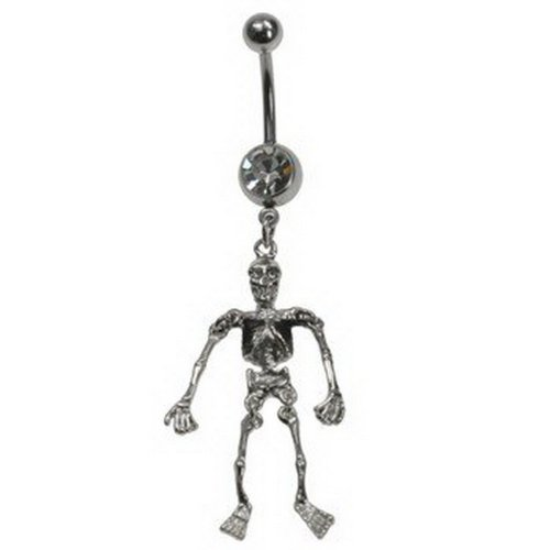 JewelryVolt Belly Button Ring Dangling Skeleton with Black Lungs