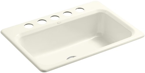 Kohler K-5832-5U-96 Bakersfield Undercounter Sink with Installation Kit, Biscuit (U96 Biscuit)