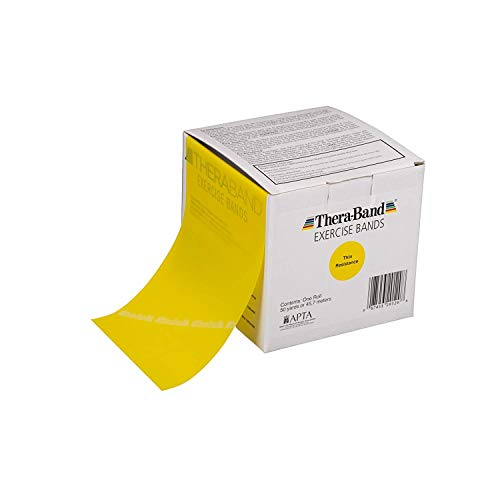 TheraBand Resistance Bands, 50 Yard Roll Professional Latex Elastic Band For Upper & Lower Body & Core Exercise, Physical Therapy, Pilates, At-Home Workouts, Rehab, Yellow, Thin, Beginner Level 2 by TheraBand (Image #5)