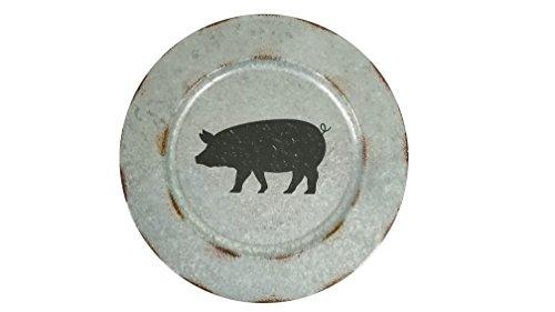 Galvanized Distressed Decorative Pig Plate