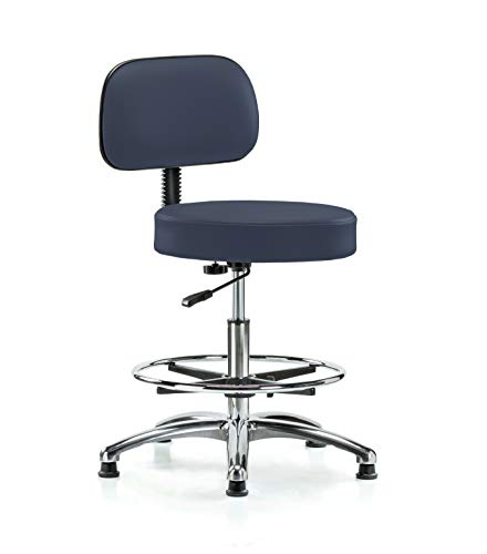 Perch Walter Chrome Rolling Exam Stool with Adjustable Backrest and Footring For Medical Dental Office Salon Home or Workshop 21