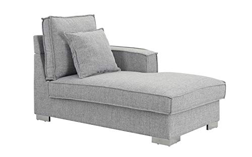 - Classic Living Room Linen Fabric Chaise Lounge (Light Grey)