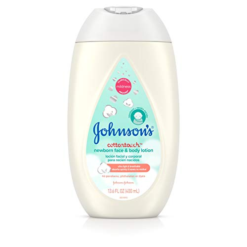 Johnson's CottonTouch Newborn Baby Face and Body Lotion, Hypoallergenic and Paraben-Free Moisturization for Sensitive Skin, Made with Real Cotton, 13.6 fl. Oz (Pack of 3)
