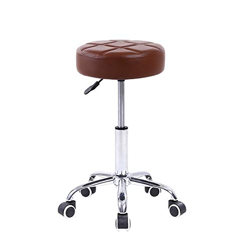 KKTONER Round Rolling Stool PU Leather Height Adjustable Swivel Drafting Work SPA Medical Salon Stools Chair with Wheels Brown