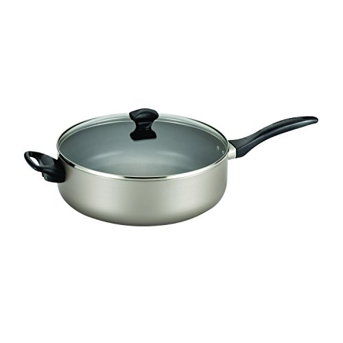 Champagne Aluminum (Farberware Dishwasher Safe Nonstick Aluminum 6-Quart Covered Jumbo Cooker with Helper Handle, Champagne)