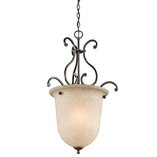 Kichler  43229OZ 1-Light Foyer Fixture with White Scavo/Light Umber Glass, Olde Bronze Finish 1lt Pendant Light Fixture