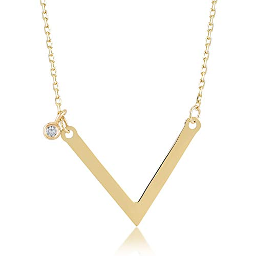 Gelin 14k Yellow Gold 0,01 ct Diamond Chevron V Shape Pendant Necklace for Women - Certified Fine Jewelry Birthday Gift for Her, 18 inch - Gold Chevron 14k