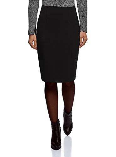 oodji Collection Femme Jupe Droite Basique Noir (2900n)