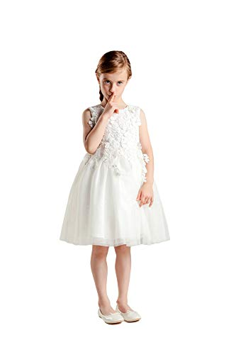 Eastbride Tulle Lace Appliques Flower Girl Dresses for Wedding Birthday Party Pageant Ivory Size 6 -