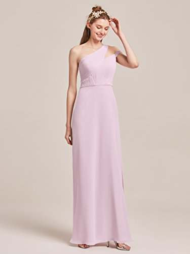 5425dc5d8b3 ... Asymmetric One Shoulder Bridesmaid Dresses for Women Long Chiffon Prom  Evening Party Gowns Plus Size, Steel Grey, US24. ; 