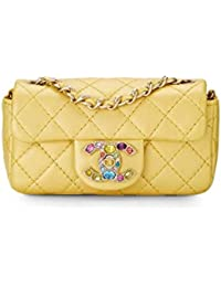 0ca7ed40faee Gold Quilted Lambskin Precious Jewel Half Flap Micro (Pre-Owned) · CHANEL