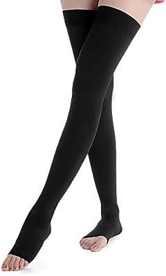 ccef4da7f3b1ff Amazon.com: DOTASI 23-32mmhg Compression Thigh High Open-toe Socks  Graduated Support Prevent Varicose Veins Stocking Silicone Anti-slip  (toe-Black-XL): ...