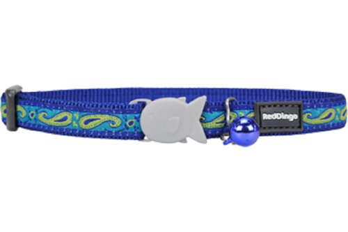 Red Dingo Designer Cat Collar, One Size Fits All, Paisley Green and -