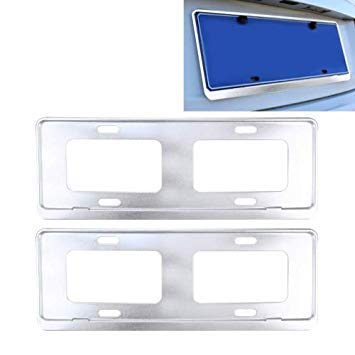 Uniqus 2 PCS Car License Plate Frames Stainless Steel License Plate Frame(White)