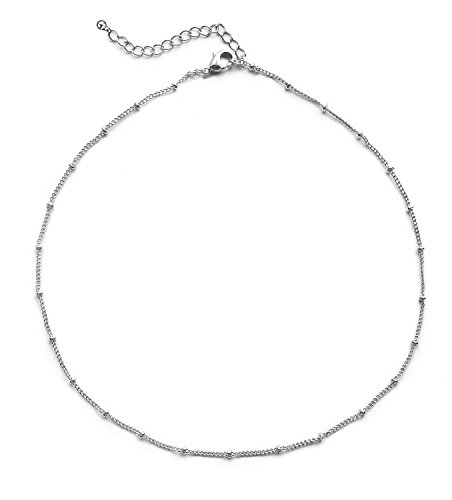 JANE STONE Women's Choker Necklace in 14K Gold Dipped or Sterling Silver: Satellite Beaded Curb Chain 1mm Minimalist Necklaces for Charity (13